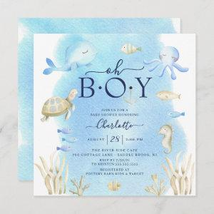 Oh Boy Under The Sea Baby Shower  Invitation