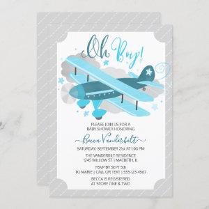 Oh Boy Vintage Airplane Baby Shower Blue and Grey