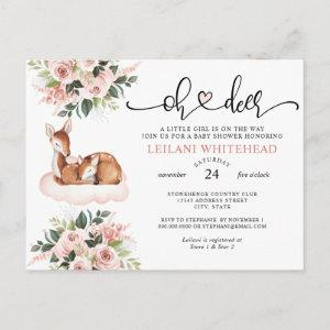 Oh Deer Baby Shower Watercolor Floral Invite