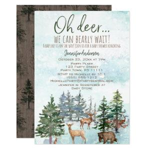 Oh Deer Bearly Wait Forest Boy Country Baby Shower Invitation