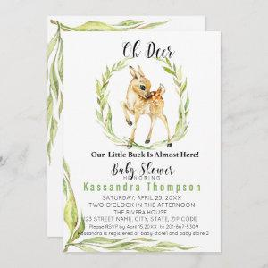 Oh Deer Our Little Buck Is Almost Here Baby Shower Invitation