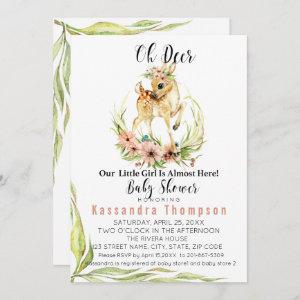 Oh Deer Our Little Girl Is Almost Here Baby Shower Invitation