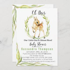 Oh Deer, Our Little One Is Almost Here Baby Shower Invitation