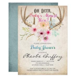 Oh Deer Rustic Baby Shower Invitation
