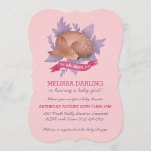 """""""Oh deer!"""" Sweet Fawn Pink Woodland Baby Shower Invitation"""