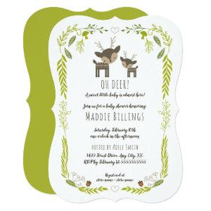 Oh Deer woodland animal neutral gender baby shower Invitation