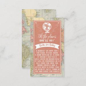 """""""Oh The Places She'll Go!"""" Travel Map Baby Shower Enclosure Card"""