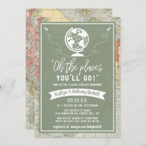 """""""Oh The Places You'll Go!"""" Travel Map Baby Shower Invitation"""