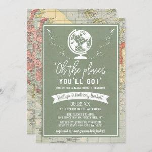 """Oh The Places You'll Go!"" Travel Map Baby Shower Invitation"