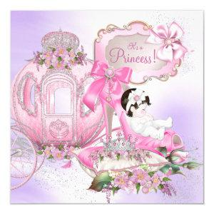 Once Upon a Time Princess Baby Shower Purple Pink Invitation