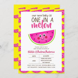 One In A MELON Baby Shower Pink Yellow Modern Cute Invitation