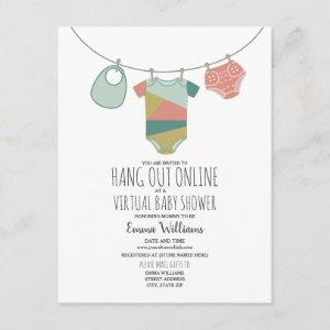 Online Virtual Neutral Baby Shower Clothesline Invitation