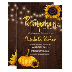 Orange Pumpkin Sunflowers Barn Wood Baby Shower Invitation