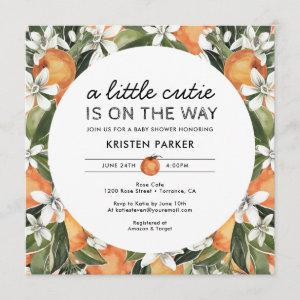 Orange Themed Little Cutie Baby Shower Square Invitation