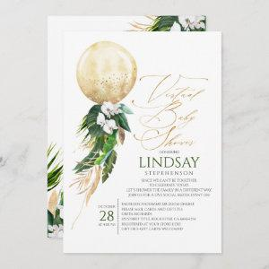 Orchids Palms Gold Balloon Virtual Baby Shower Invitation