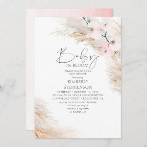 Orchids Pampas Grass Baby in Bloom Baby Shower Inv