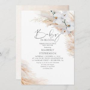 Orchids Pampas Grass Baby in Bloom Baby Shower Invitation