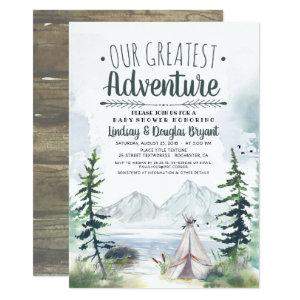 Our Greatest Adventure Mountains Baby Shower Invitation