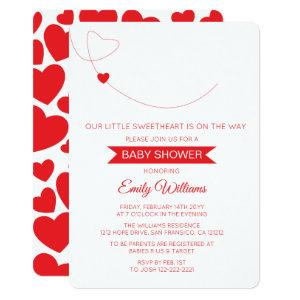 Our Little Sweetheart Red Hearts Baby Shower Card