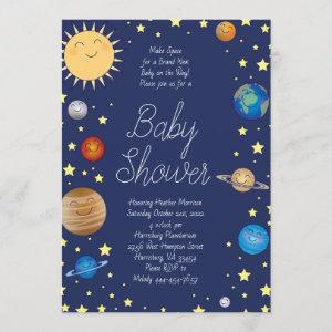 Outer Space Baby Shower Galaxy Universe Stars Invitation