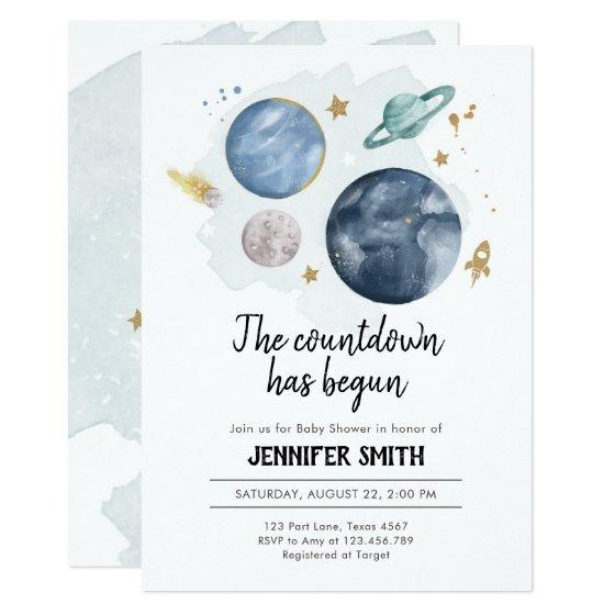 Outer Space Planets Boy Baby Shower Invitation