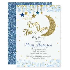 Over the Moon Baby Shower Invitation Blue