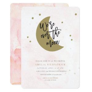Over the Moon Baby Shower Invitation Girl
