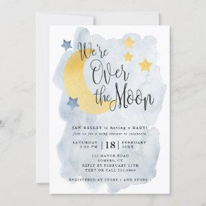 Over the Moon, Blue Watercolor Baby Shower
