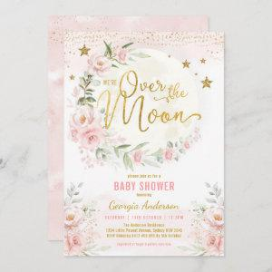 Over the Moon | Blush Pink Gold Girl Baby Shower