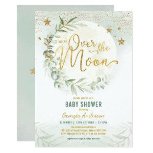 Over the Moon | Dreamy Greenery Gold Baby Shower Invitation