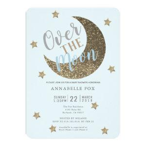 Over the Moon Gold Blue Baby Shower Invitation