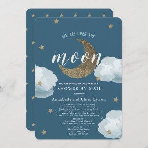 Over the Moon Midnight Blue Baby Shower By Mail Invitation