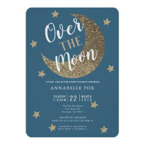 Over the Moon Midnight Blue Baby Shower Invitation