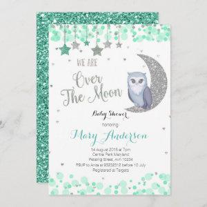 Over the Moon Owl Baby Shower Mint Green Invitation
