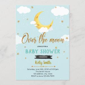 Over the moon shower party invitation