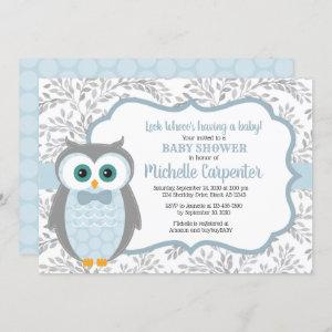 owl baby shower invitation boy blue gray woodland
