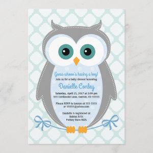 Owl baby shower invitations boys blue gray mint