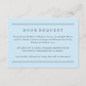 Pale Blue Baby Shower Book Request Enclosure Card
