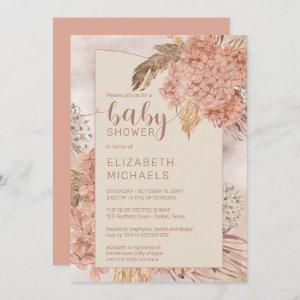Pampas Grass and Hydrangeas Blooms Baby Shower