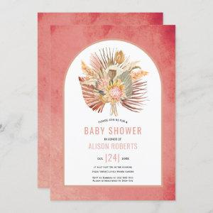 Pampas grass and palm pink girl baby shower