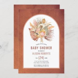 Pampas grass and palm terracotta baby shower