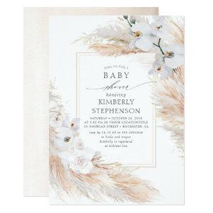 Pampas Grass and White Orchids Exotic Baby Shower Invitation