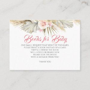 Pampas Grass Blush Pink Floral Baby Books Request Business Card