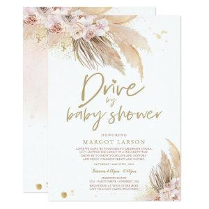 Pampas Grass Bohemian Drive By Baby Shower Invitation