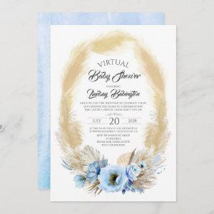 Pampas Grass Dusty Blue Floral Virtual Baby Shower