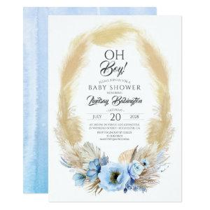 Pampas Grass Dusty Blue Flowers Baby Shower Oh Boy Invitation