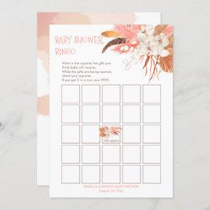 Pampas Grass Orchid Blooms Baby Shower Bingo Card