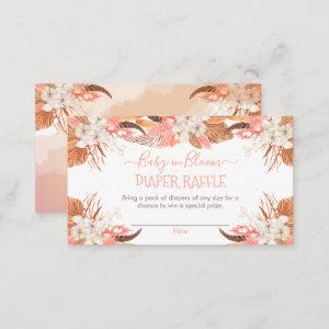 Pampas Grass | White Orchid Blooms Diaper Raffle  Enclosure Card