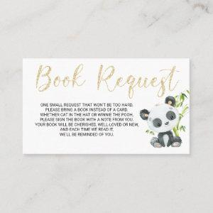 Panda Book Request Card for Baby Shower Birthday