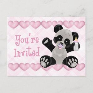Panda with Pacifier Pink Baby Shower Invitation